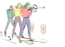 Biathlon. In the sunny day Royalty Free Stock Images