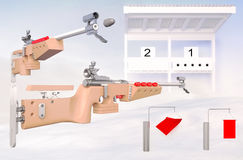 Biathlon. Target sports to rifle shooting. Royalty Free Stock Photography