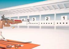 Biathlon. Target sports to rifle shooting. Gunshot Royalty Free Stock Image