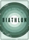 Biathlon typographical vintage grunge style poster. Retro vector illustration. Stock Images