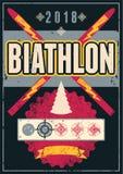 Biathlon typographical vintage grunge style poster. Retro vector illustration. Royalty Free Stock Photography