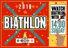 Biathlon typographical vintage grunge style poster. Retro vector illustration. Stock Photography