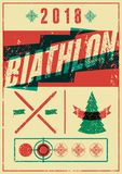Biathlon typographical vintage grunge style poster with winter landscape. Retro vector illustration. Royalty Free Stock Image