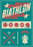 Biathlon typographical vintage grunge style poster with winter landscape. Retro vector illustration. Royalty Free Stock Photos