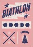 Biathlon typographical vintage grunge style poster with winter landscape. Retro vector illustration. Stock Images