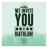 Biathlon typographical vintage style poster with winter landscape. Retro vector illustration. Royalty Free Stock Photography