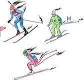 Biathlon und alpines Skifahren Lizenzfreie Stockbilder