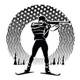 Biathlon. Vector illustration in the engraving style Royalty Free Stock Photography