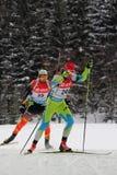 Biathlon. 8.2.2015 Biathlon world cup in Nove Mesto na Morave at Czech Republic - Men 12,5 Km Pursuit. Bauer Klemen (SLO) followed by Roesch Michael (BEL royalty free stock images