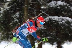 Biathlon. 8.2.2015 Biathlon world cup in Nove Mesto na Morave at Czech Republic - Men 12,5 Km Pursuit. Krcmar Michal from Czech Republic stock images