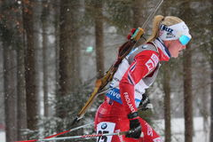 Biathlon. 8.2.2015 Biathlon world cup in Nove Mesto na Morave at Czech Republic - Women 10 Km Pursuit. Olsbu Marte from Norway Stock Images