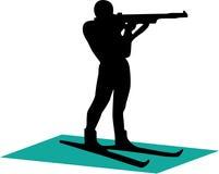 Biathlonist - 1. siluette Fotografie Stock Libere da Diritti