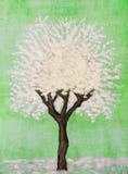 Biały drzewo na błękicie, maluje Zdjęcia Royalty Free