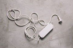 Biały elektryczny rozszerzenie kabel Obraz Stock