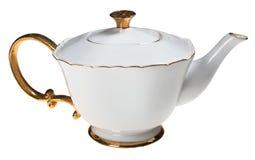 Biały i złocisty teapot Fotografia Stock