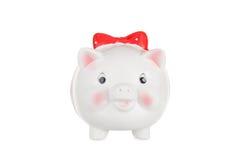 Biały świniowaty moneybox Fotografia Royalty Free