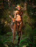 Biba and Fawn 3d CG. 3D computer graphics of a cute forest elf and a fawn Stock Photography