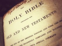 Bibal. Old Holy Bible in catholic church Royalty Free Stock Photos