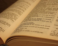Bibbia antica spagnola Fotografie Stock