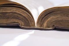 Bibbia aperta ad angolo, spina dorsale dettagliante e bordo della pagina Immagini Stock Libere da Diritti