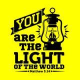 Bibbia tipografica Siete la luce del mondo illustrazione di stock