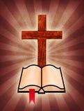 Bibbia trasversale e santa Fotografia Stock