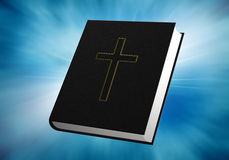 Bibel auf blauem Hintergrund Stockfotos