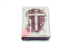 Bibel auf weißem Hintergrund Stockbild