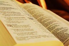 Bibel, die Heilige Schrift oben lesend, Abschluss Lizenzfreie Stockfotos