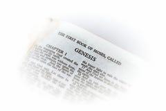 Bibel geöffnet zur Entstehungsgeschichtevignette Stockbilder
