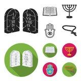 Bibel, menorah, hamsa, orthodoxes Kreuz Gesetzte Sammlungsikonen der Religion schwarzes, flaches Artvektorsymbolauf lager stock abbildung