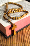 Bibel mit Kruzifix stockbild