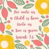 Bibel-Zitat von Jesaja über Jesus für Weihnachtsfeiertage, mit Blumen- und Blättern kritzelt Hand gezeichnete Art stock abbildung