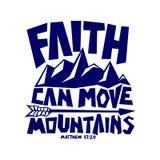 Bibelbeschriftung Christian Art Glaube kann Berge bewegen lizenzfreie abbildung