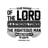 Bibelbeschriftung Christliche Illustration Der Name des LORDS ist ein starker Turm; der rechtschaffene Mann läuft in ihn und ist  vektor abbildung