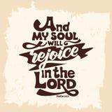 Bibelbokstäver Kristen konst Och min anda ska jubla i Herren stock illustrationer