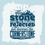Bibelbokstäver Kristen konst Stenen, som byggmästarna kasserade, har blivit grundpelaren Psalm118:22 royaltyfri illustrationer