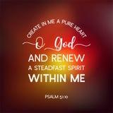Bibelcitationstecknet från psalmen, skapar i mig en ren hjärtanolla-gud och ren stock illustrationer