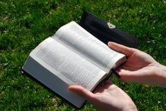 bibelholdingkvinna Royaltyfri Foto
