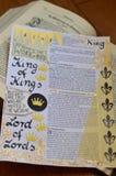 Bibelkonst som för journal över om konung av konungar Fotografering för Bildbyråer