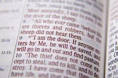 Bibeltext - JAG ÄR DÖRREN - John 10:9 Fotografering för Bildbyråer