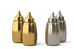 Biberón del oro y biberón de la plata en el fondo blanco 3d i Fotografía de archivo
