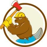 Biber-Holzfäller-Wielding Ax Circle-Karikatur Lizenzfreies Stockbild