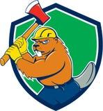 Biber-Holzfäller-Wielding Ax Shield-Karikatur Lizenzfreies Stockfoto
