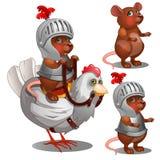 Biberritter auf Huhn Karikaturtiercharakter für Animation Lizenzfreies Stockbild
