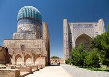Bibi-Khanym mosque - Registan - Samarkand - Uzbekistan. View from Bibi-Khanym mosque - Registan - Samarkand - Uzbekistan royalty free stock images