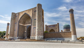 Bibi-Khanym Mosque in Samarkand, Uzbekistan. SAMARKAND, UZBEKISTAN - AUGUST 29, 2016: Bibi-Khanym mosque, constructed by Tamerlane the Great in commemoration of royalty free stock images