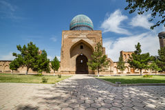 Bibi-Khanym Mosque in Samarkand, Uzbekistan. Courtyard of Bibi-Khanym mosque, constructed by Tamerlane the Great in commemoration of his favourite and beloved royalty free stock images