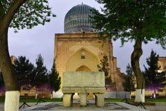 Bibi-Khanym mosque Samarkand, Uzbekistan. View on the marble Quran stand. Bibi-Khanym mosque at night, one of the Islamic world's biggest mosques, built stock photo