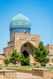 Bibi-Khanym Mosque, Samarkand, Uzbekistan. Bibi-Khanym Bibi-Xonum Mosque, Samarkand, Uzbekistan with blue mosaics royalty free stock image
